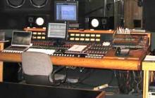 Backroom Sudio B control room facing performance area